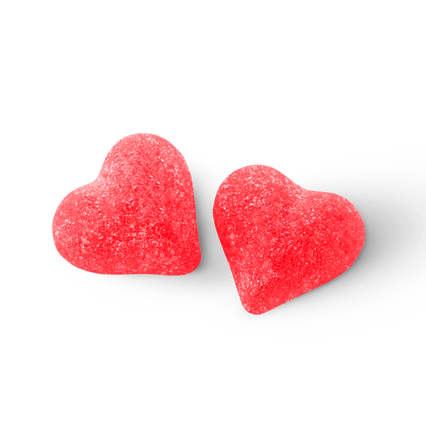 Bala de goma coração vermelho